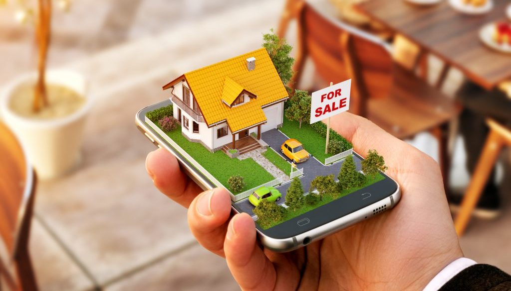Smartphone application for online searching, buying, selling and booking real estate. Unusual 3D illustration of beautiful house on smart phone in hand